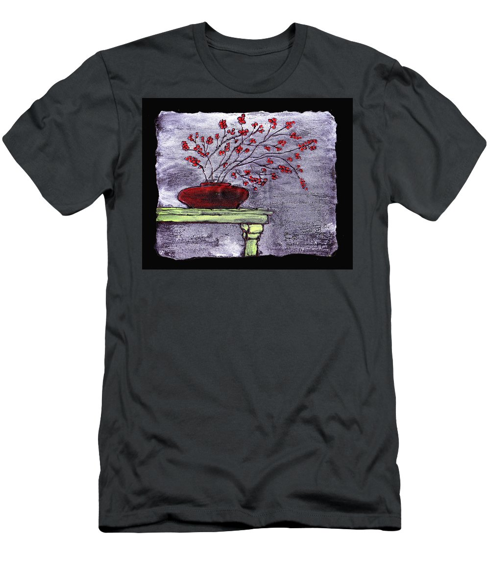 Flower Men's T-Shirt (Athletic Fit) featuring the painting Arrangement In Red by Wayne Potrafka