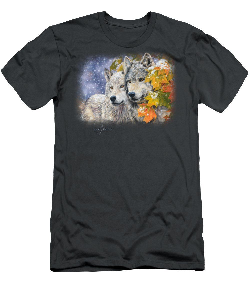 Wolf Men's T-Shirt (Athletic Fit) featuring the painting Early Snowfall by Lucie Bilodeau
