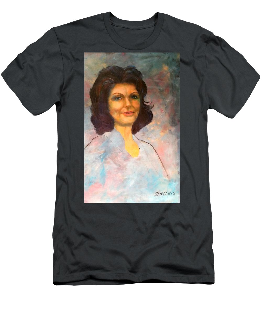 Selfportrait Men's T-Shirt (Athletic Fit) featuring the painting Selfportrait by Dagmar Helbig