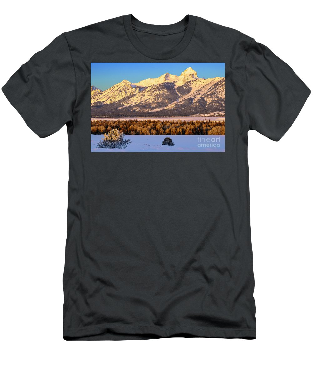 Grand Teton National Park Men's T-Shirt (Athletic Fit) featuring the photograph As The Sun Comes Up by Bob Phillips