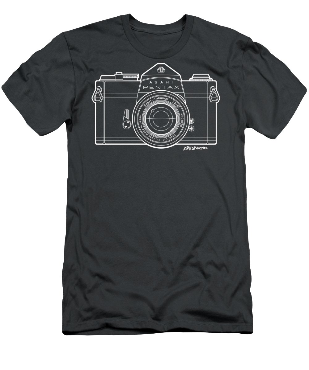 Camera Men's T-Shirt (Athletic Fit) featuring the digital art Asahi Pentax 35mm Analog Slr Camera Line Art Graphic White Outline by Monkey Crisis On Mars