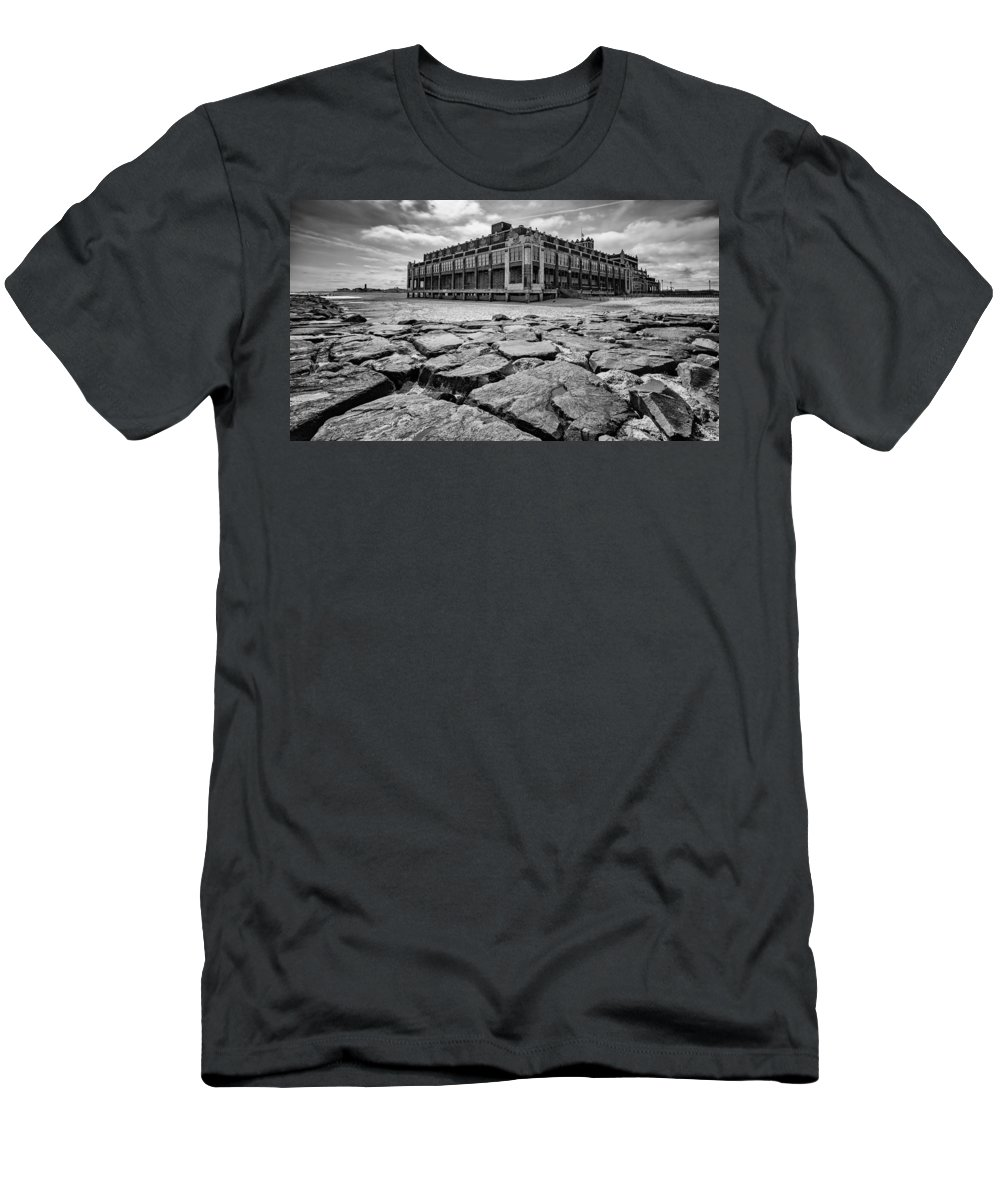 2016 Men's T-Shirt (Athletic Fit) featuring the photograph Asbury Park Rocks, Black And White by Marco Catini