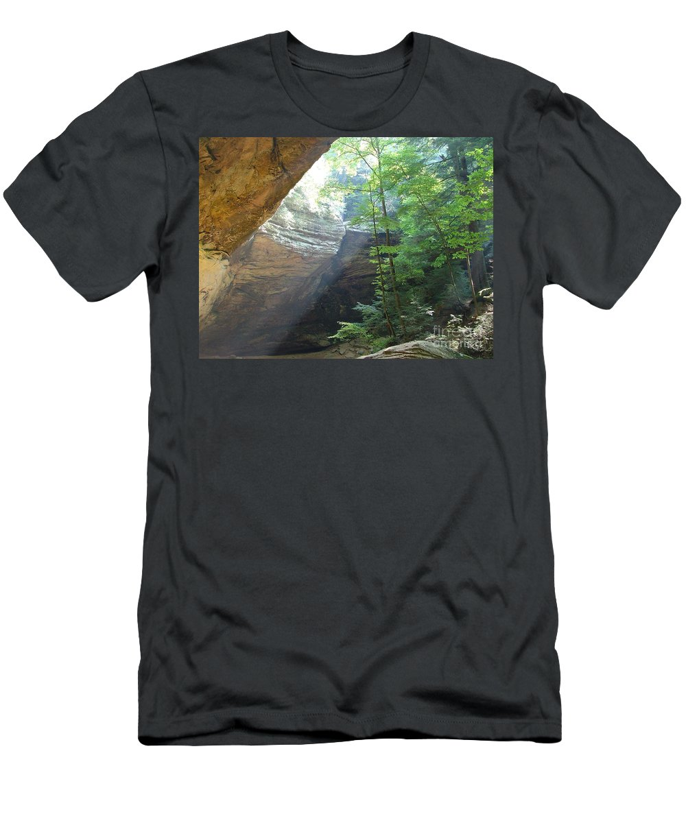 Photograph Men's T-Shirt (Athletic Fit) featuring the photograph Ash Cave by Mindy Newman