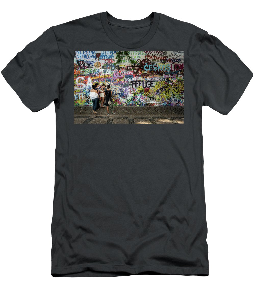 Prague Men's T-Shirt (Athletic Fit) featuring the photograph Lennon Wall by M G Whittingham