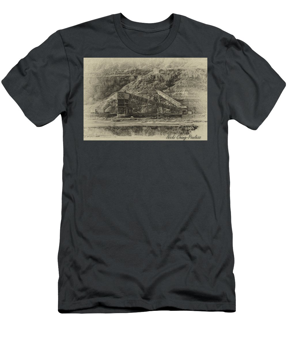 Black And White Men's T-Shirt (Athletic Fit) featuring the photograph Atlas Coal Mine by Nicki ChangPowless