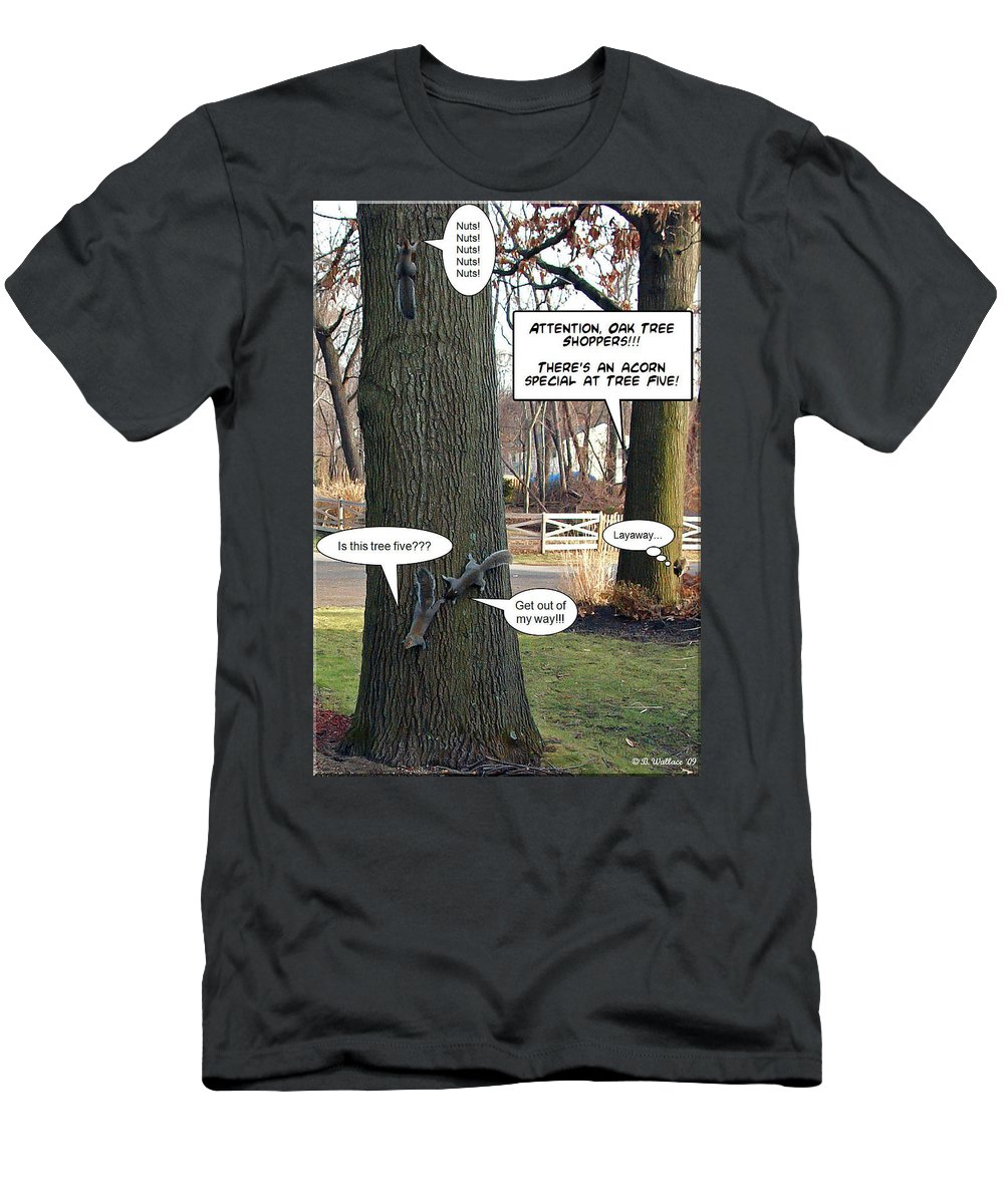 2d Men's T-Shirt (Athletic Fit) featuring the photograph Attention Oak Tree Shoppers by Brian Wallace