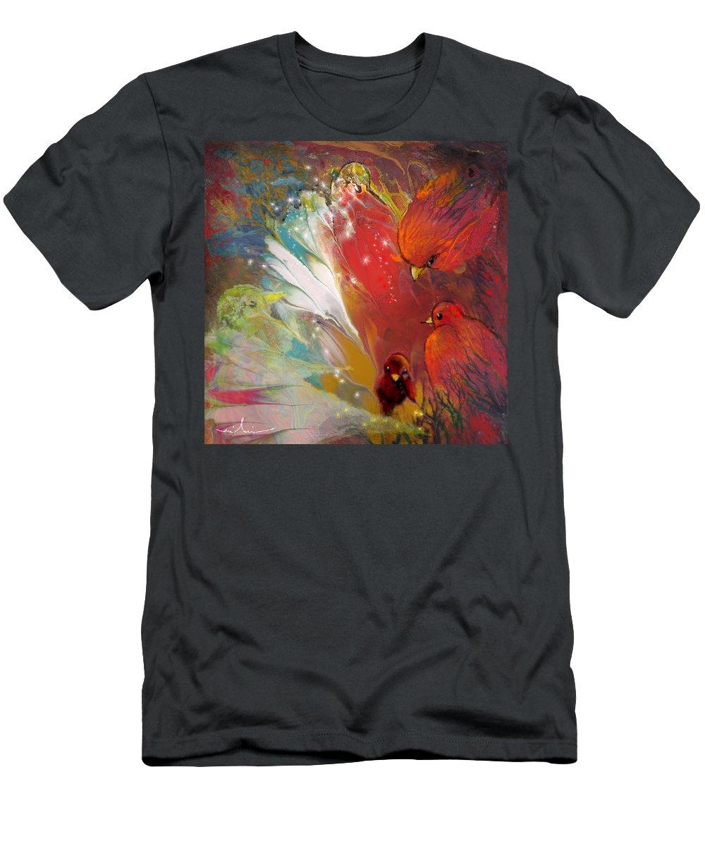 Fantasy Men's T-Shirt (Athletic Fit) featuring the painting Au Pays Des Oiseaux by Miki De Goodaboom