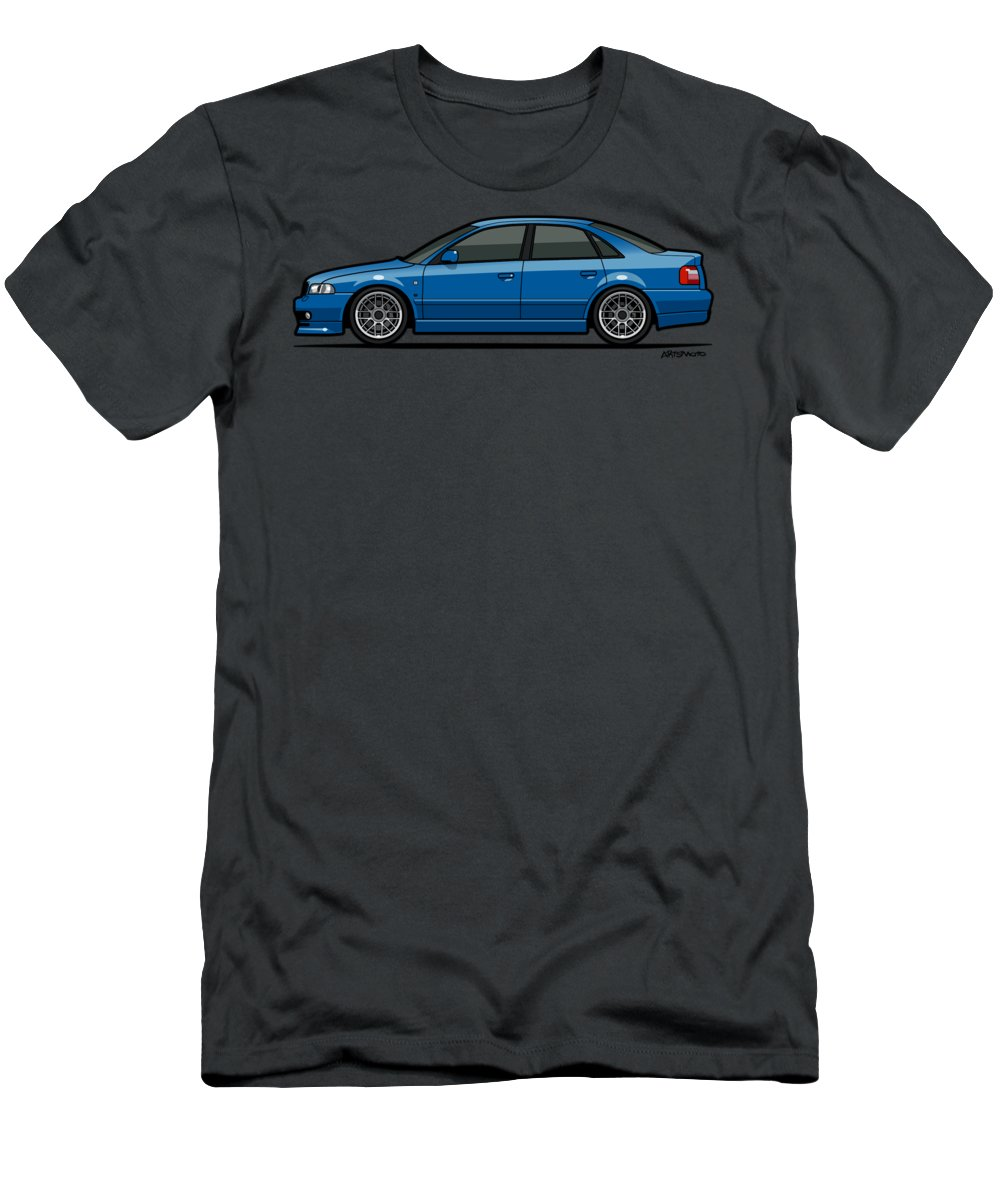 Car Men's T-Shirt (Athletic Fit) featuring the digital art Audi A4 Quattro B5 Type 8d Sedan Nogaro Blue by Monkey Crisis On Mars