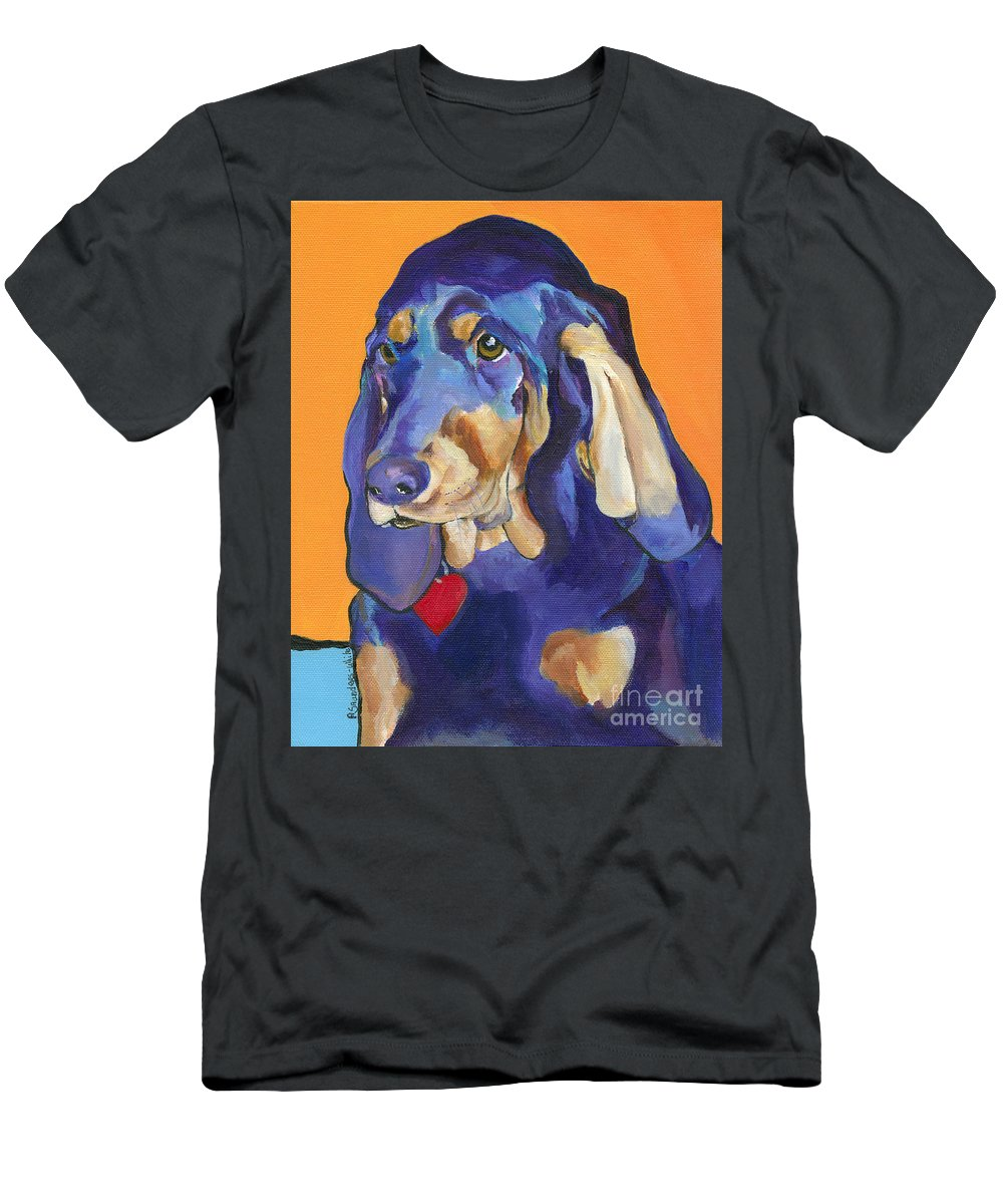 Bloodhound Men's T-Shirt (Athletic Fit) featuring the painting Augie by Pat Saunders-White