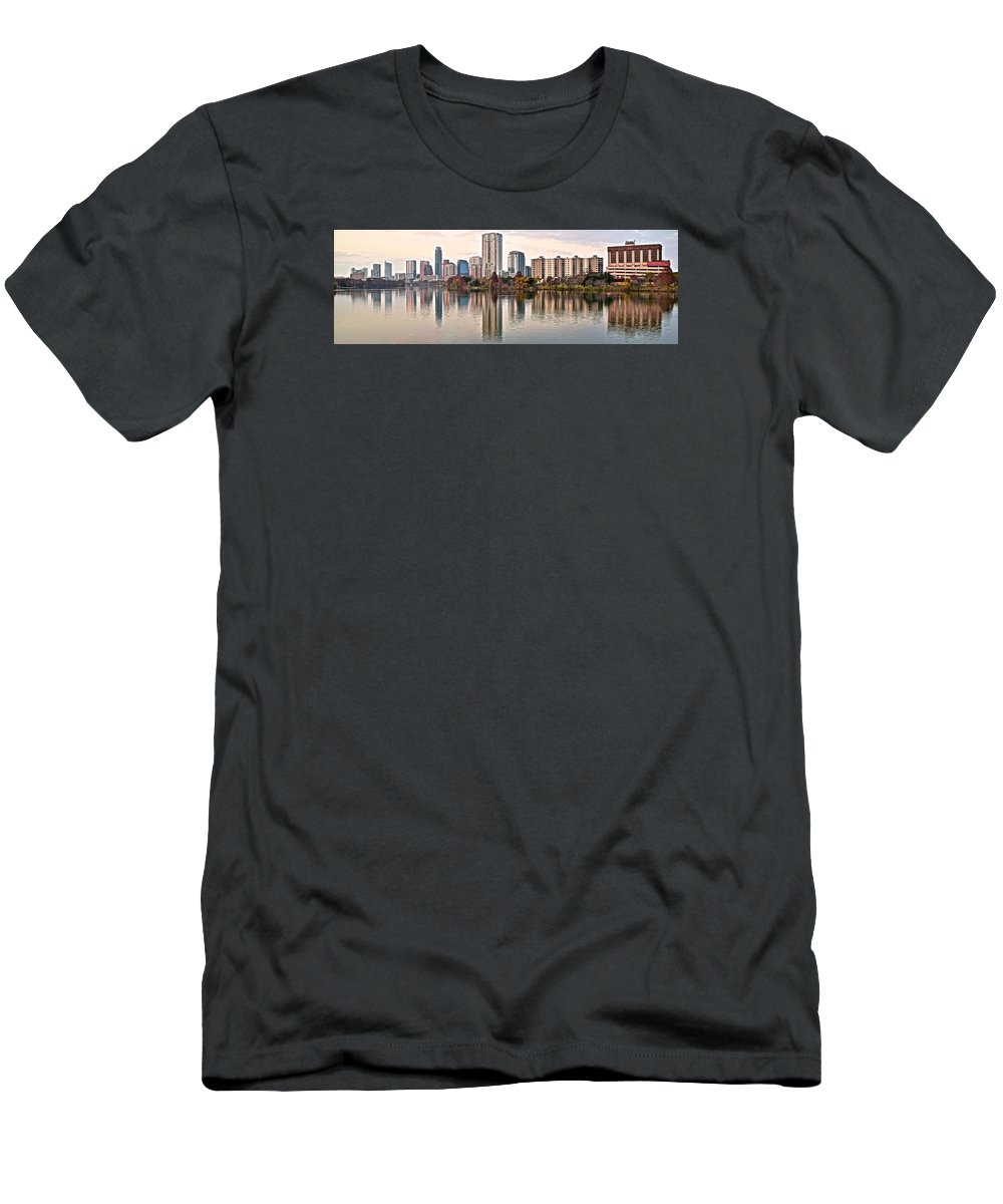 Austin Men's T-Shirt (Athletic Fit) featuring the photograph Austin Stretches Out by Frozen in Time Fine Art Photography