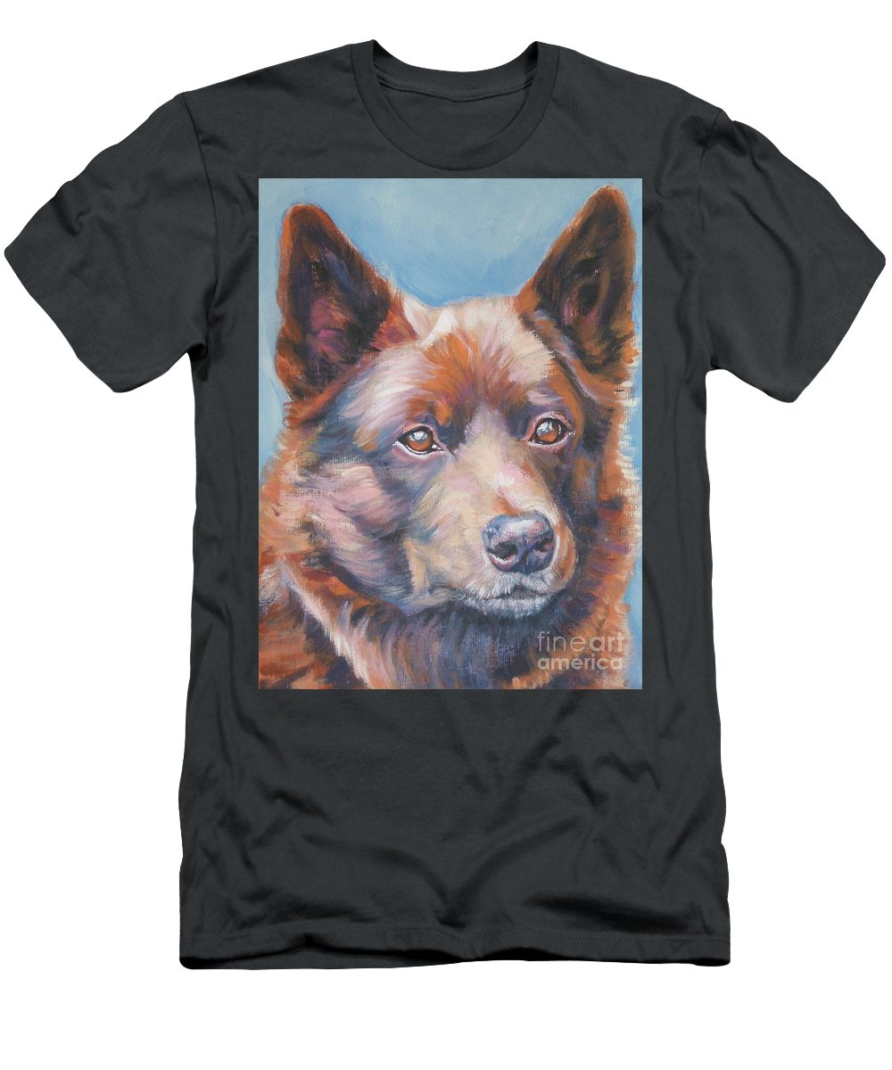 Dog Men's T-Shirt (Athletic Fit) featuring the painting Australian Kelpie by Lee Ann Shepard