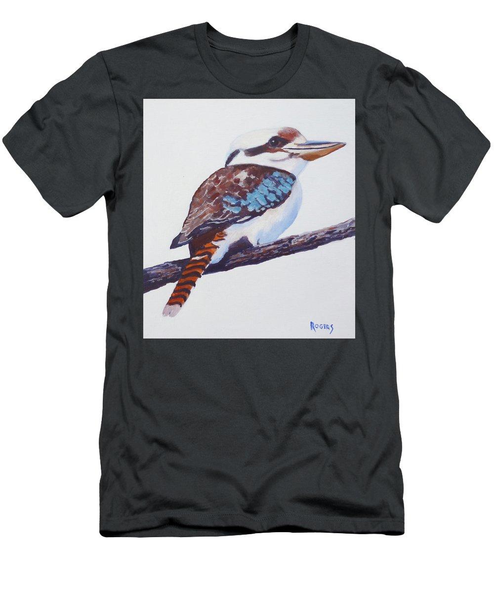 Australian Kookaburra Native Bird Kingfisher Aboriginal Men's T-Shirt (Athletic Fit) featuring the painting Australian Kookaburra Or Kingfisher by Michael Rogers