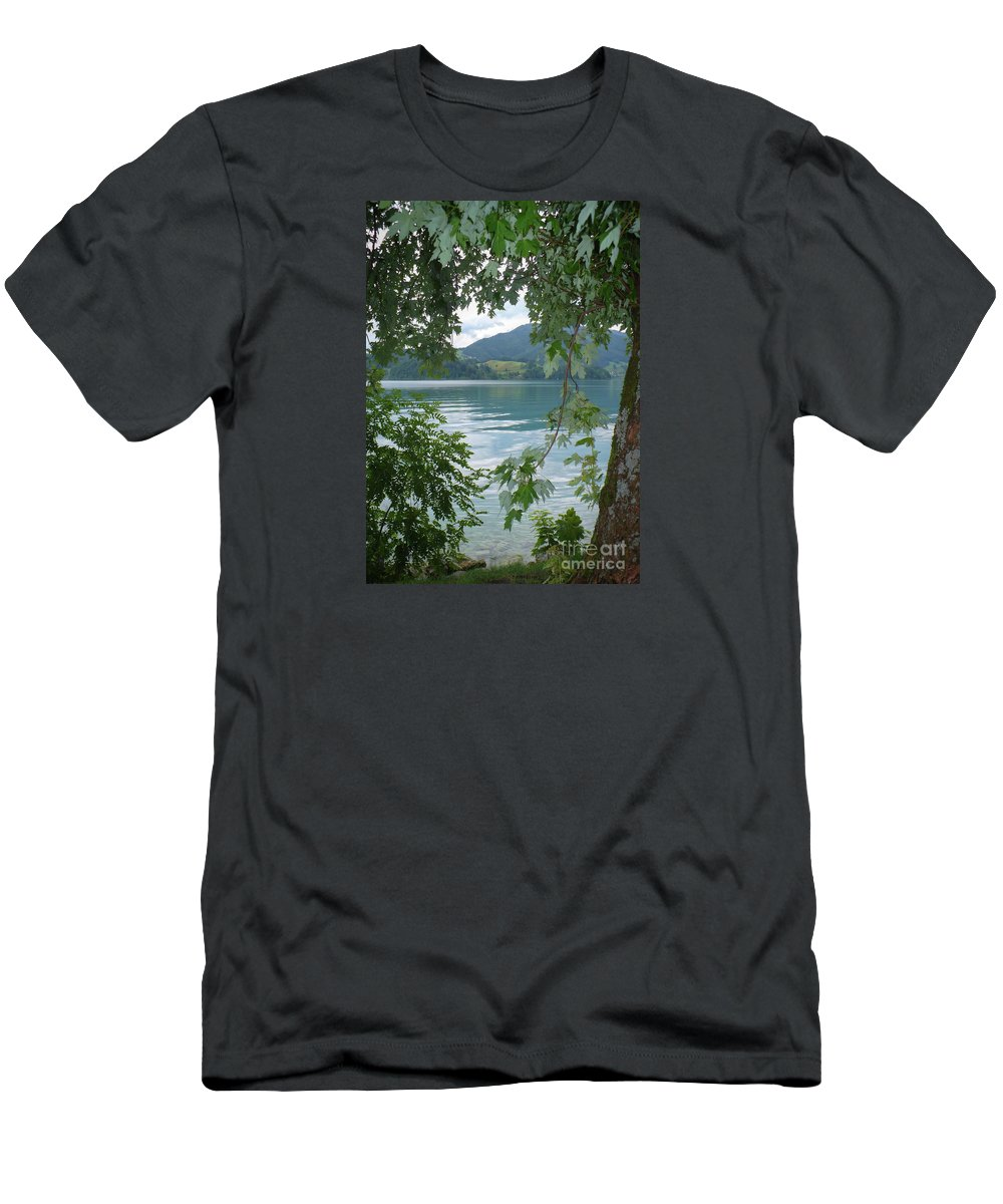 Austria Men's T-Shirt (Athletic Fit) featuring the photograph Austrian Lake Through The Trees by Carol Groenen