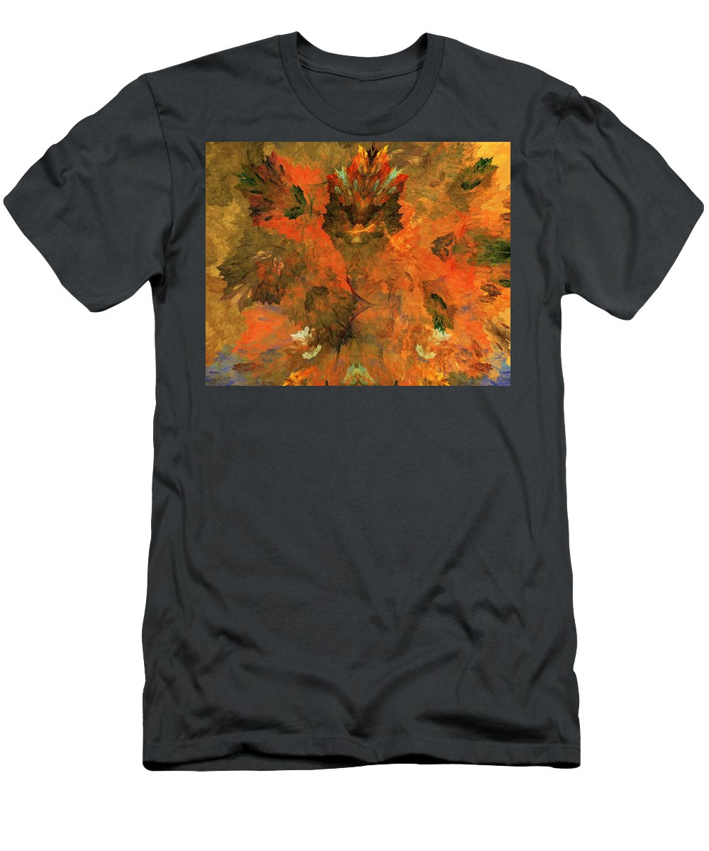 Fine Art Digital Art Men's T-Shirt (Athletic Fit) featuring the digital art Autumn Abstract 103101 by David Lane