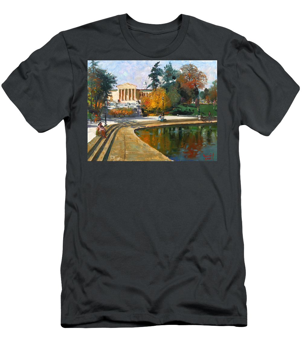 Landscape Men's T-Shirt (Athletic Fit) featuring the painting Autumn By Delaware Lake by Ylli Haruni