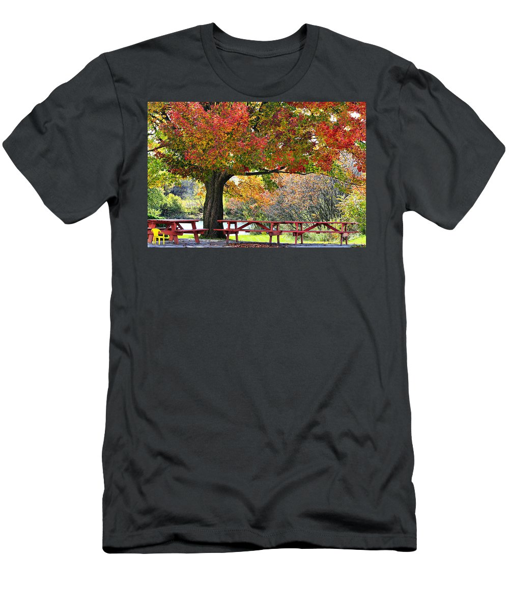 Fall Men's T-Shirt (Athletic Fit) featuring the photograph Autumn By The River On 105 by Deborah Benoit