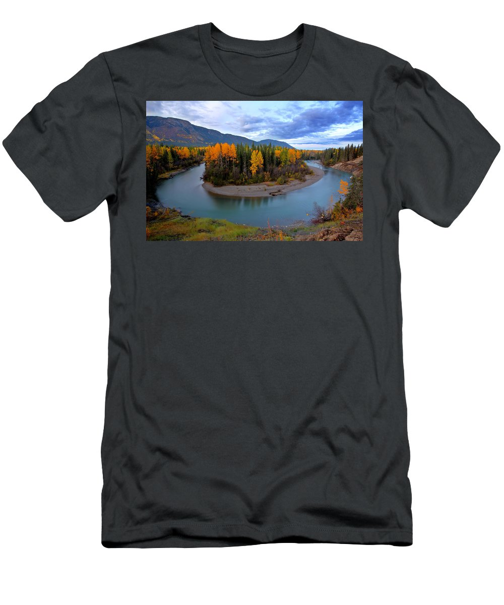 River Men's T-Shirt (Athletic Fit) featuring the digital art Autumn Colors Along Tanzilla River In Northern British Columbia by Mark Duffy