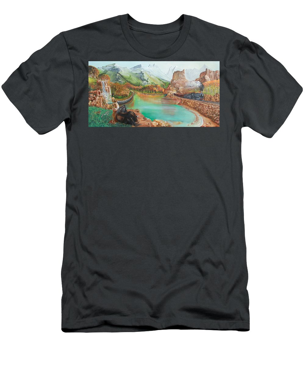Autumn Men's T-Shirt (Athletic Fit) featuring the painting Autumn by Farzali Babekhan