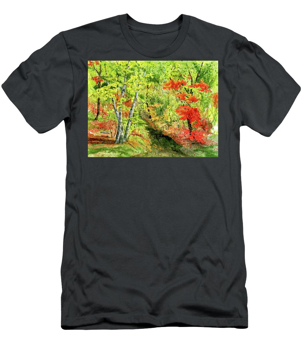 Autumn T-Shirt featuring the painting Autumn Fun by Mary Tuomi