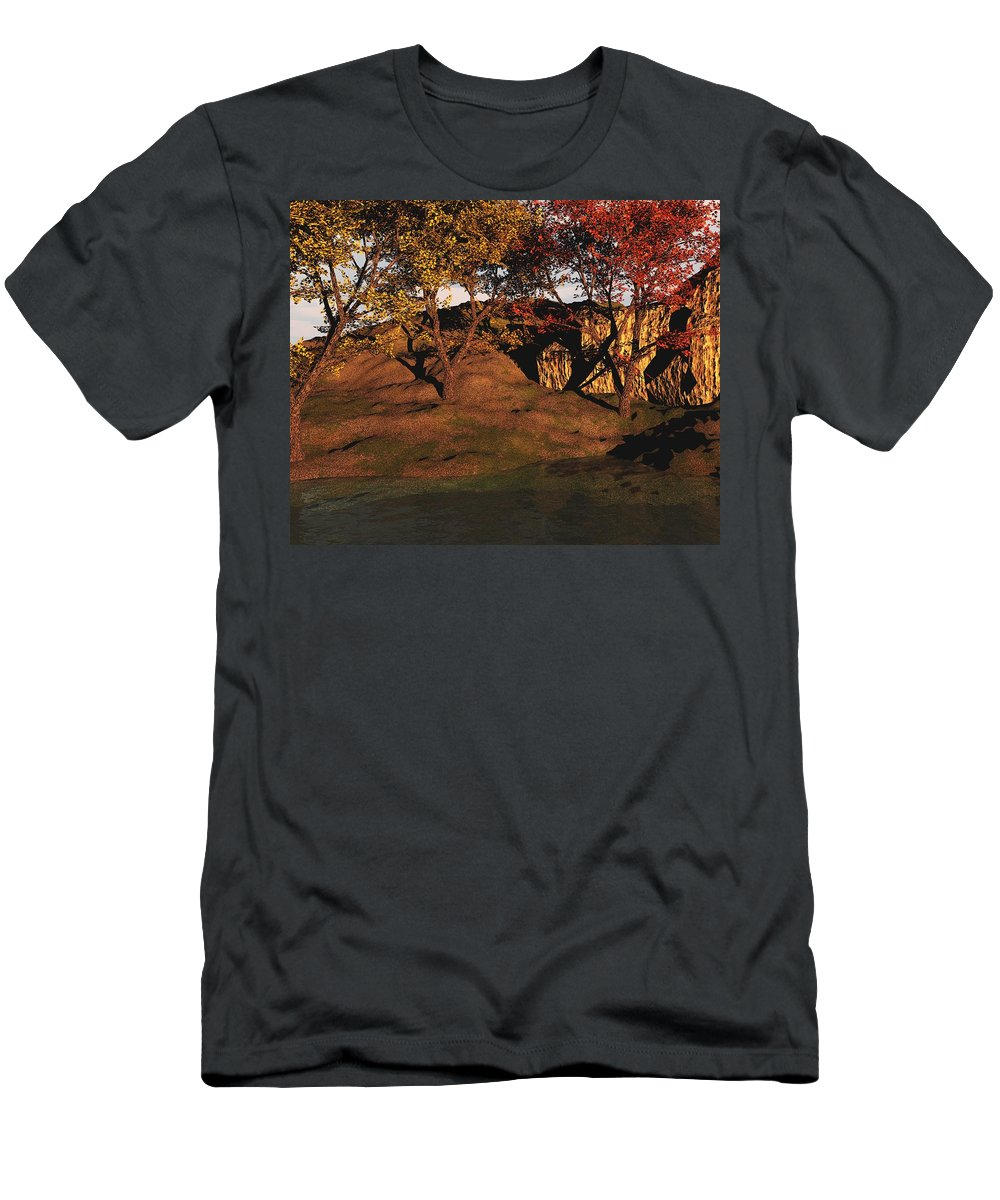Autumn Men's T-Shirt (Athletic Fit) featuring the digital art Autumn Grove by David Lane