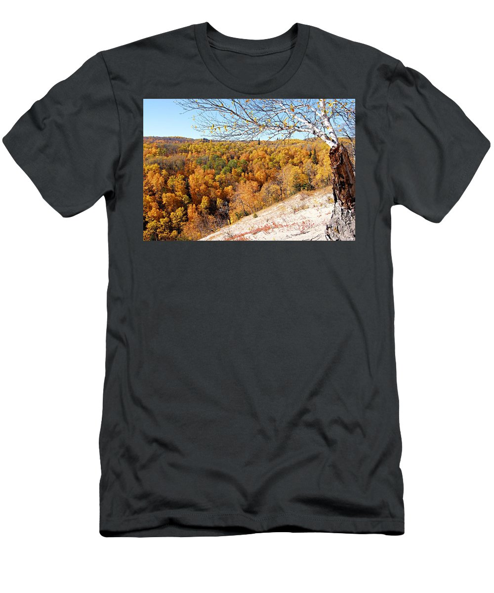 Riding Mountain National Park Men's T-Shirt (Athletic Fit) featuring the photograph Autumn In Riding Mtn National Park by Larry Ricker