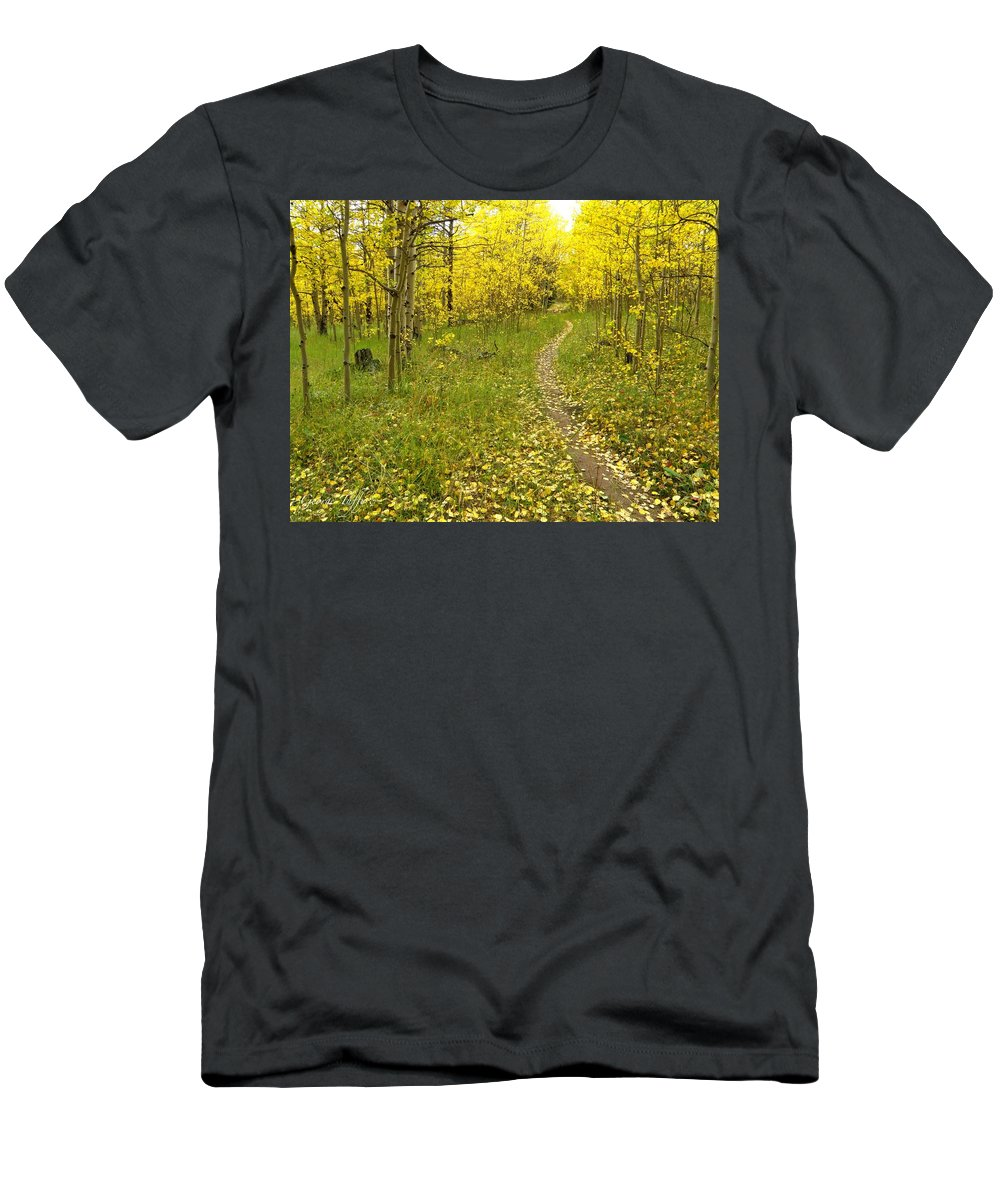 Colorado Rockymountains Autumn Golden Leaves Path Hike Walk Aspen T-Shirt featuring the photograph Autumn path by George Tuffy