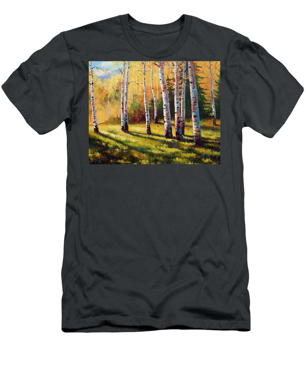 Landscape Men's T-Shirt (Athletic Fit) featuring the painting Autumn Shade by David G Paul