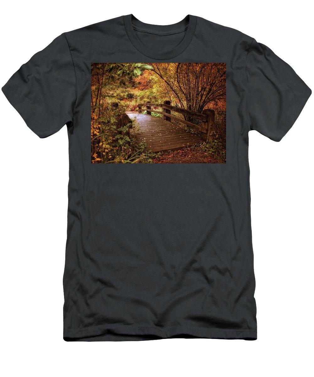 Bridge Men's T-Shirt (Athletic Fit) featuring the photograph Autumn Splendor Bridge by Jessica Jenney