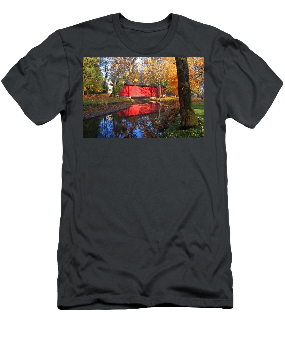 Covered Bridge Men's T-Shirt (Athletic Fit) featuring the photograph Autumn Sunrise Bridge II by Margie Wildblood
