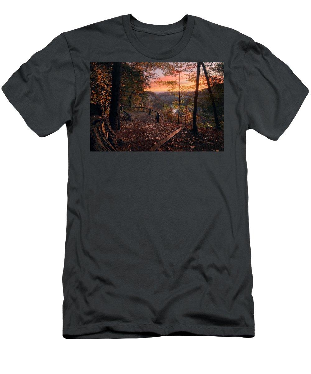 Autumn Men's T-Shirt (Athletic Fit) featuring the photograph Autumn Sunrise by Dustin Schwartzmeyer
