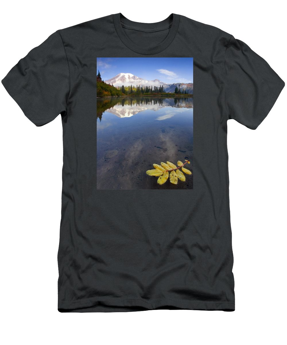 Rainier Men's T-Shirt (Athletic Fit) featuring the photograph Autumn Suspended by Mike Dawson