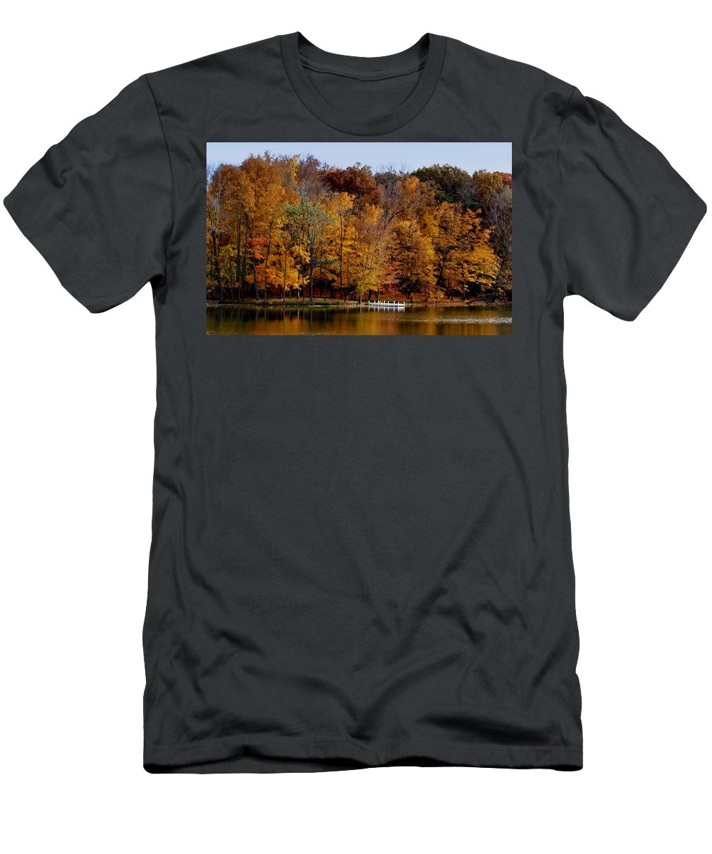 Autumn Trees Men's T-Shirt (Athletic Fit) featuring the photograph Autumn Trees by Sandy Keeton