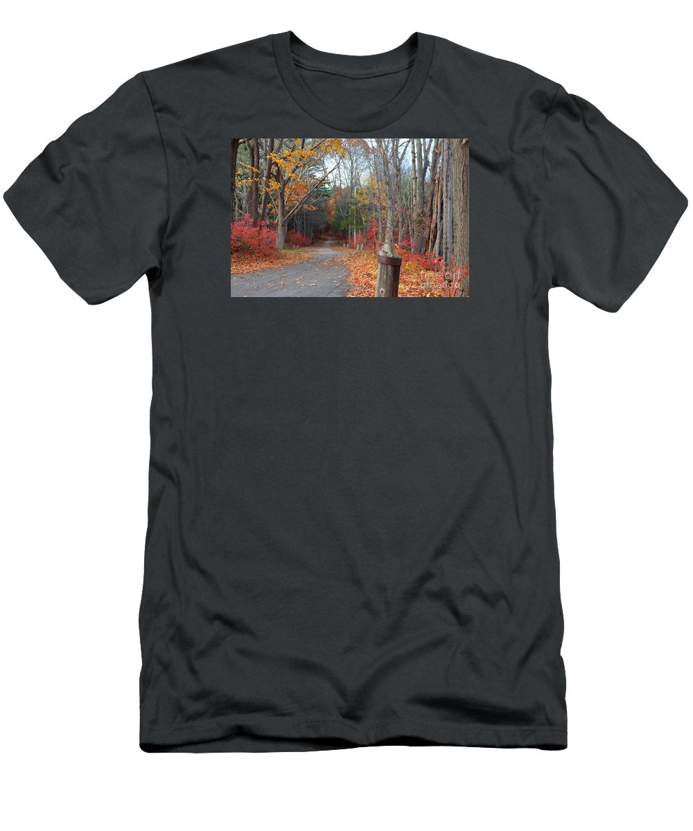 Fall Men's T-Shirt (Athletic Fit) featuring the photograph Autumn Walk At West Thompson Lake by Neal Eslinger