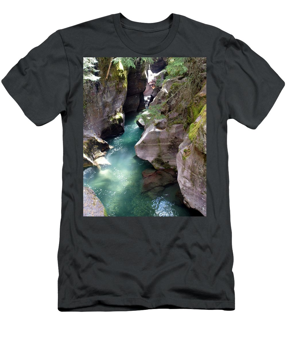Glacier National Park Men's T-Shirt (Athletic Fit) featuring the photograph Avalanche Creek Glacier National Park by Marty Koch