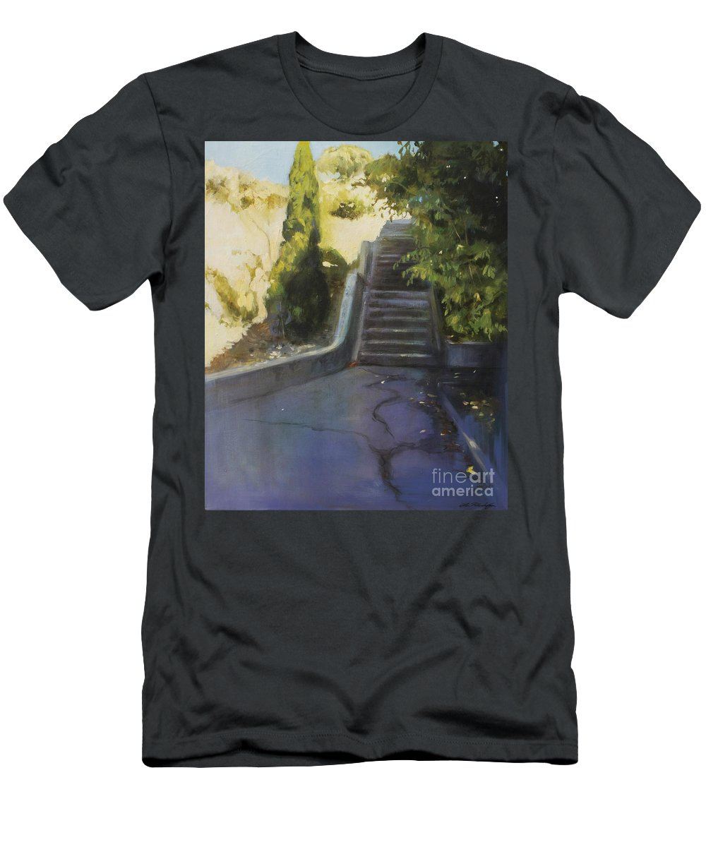 Lin Petershagen Men's T-Shirt (Athletic Fit) featuring the painting Avenue Gravier - The Shortcut by Lin Petershagen