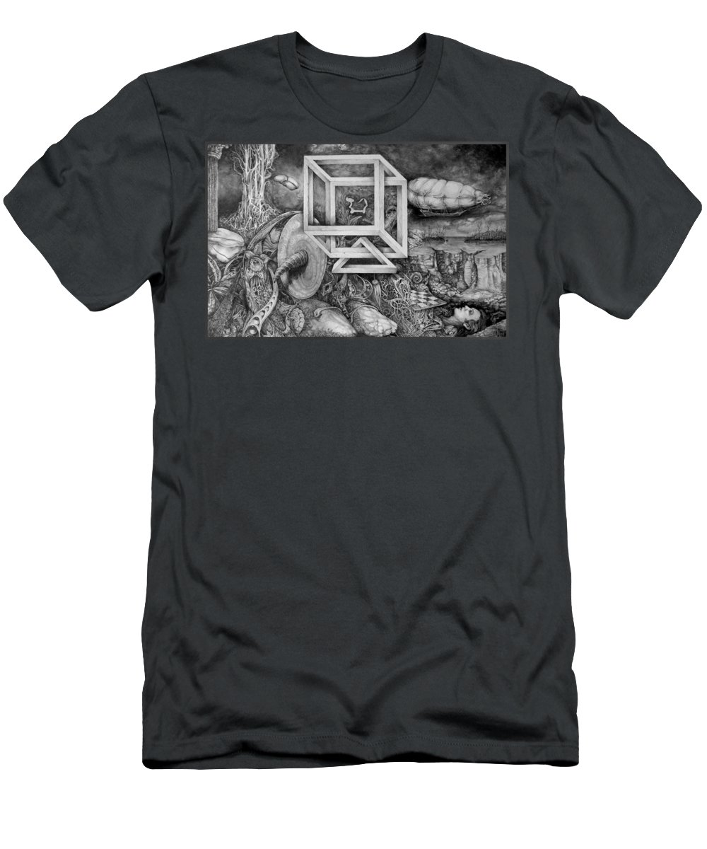Drawing Men's T-Shirt (Athletic Fit) featuring the drawing Axis Mundi by Otto Rapp