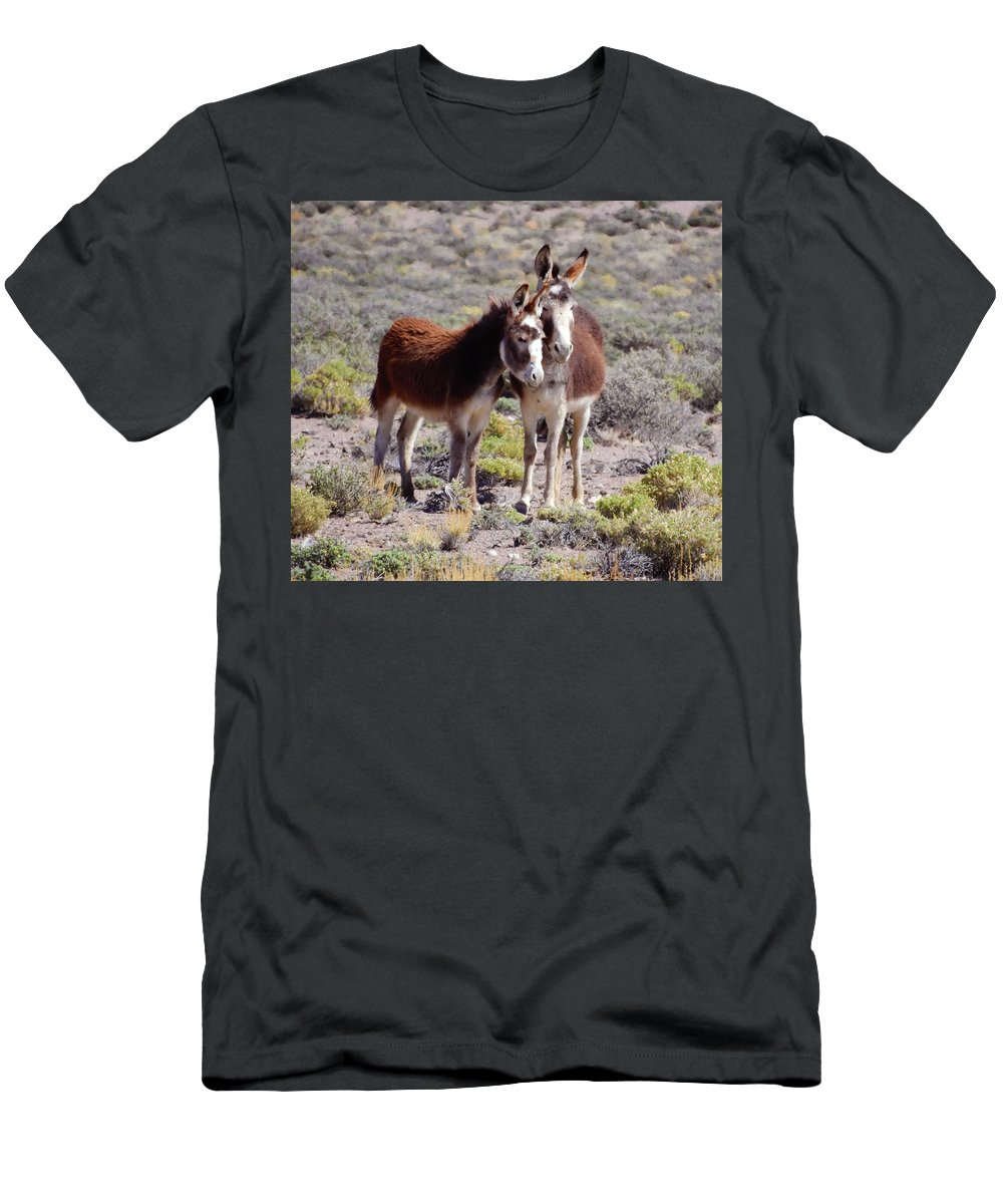 Burro Men's T-Shirt (Athletic Fit) featuring the photograph Baby And Mama Burro by Sandra O'Toole