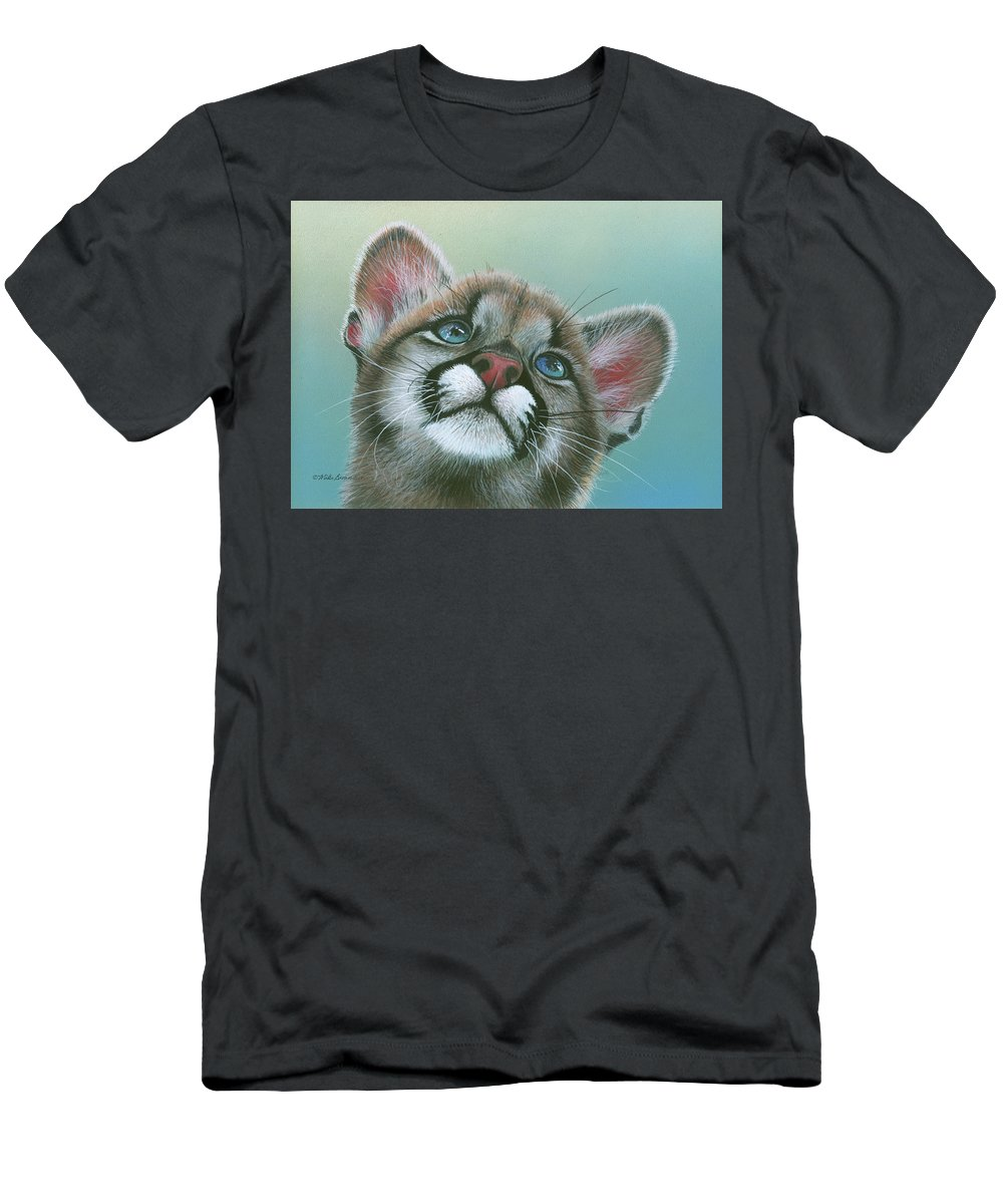 Cougar Men's T-Shirt (Athletic Fit) featuring the painting Baby Blues by Mike Brown