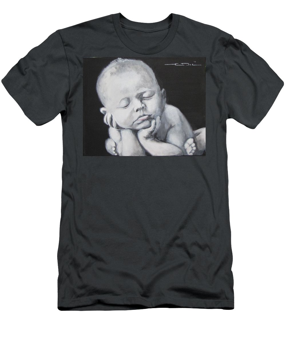 Baby Men's T-Shirt (Athletic Fit) featuring the painting Baby Nap by Eric Dee
