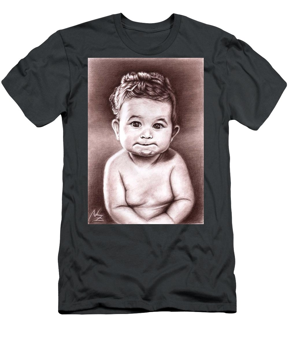 Baby Child Kind Enfant Face Sepia Charcoal Portrait Realism Men's T-Shirt (Athletic Fit) featuring the drawing Babyface by Nicole Zeug
