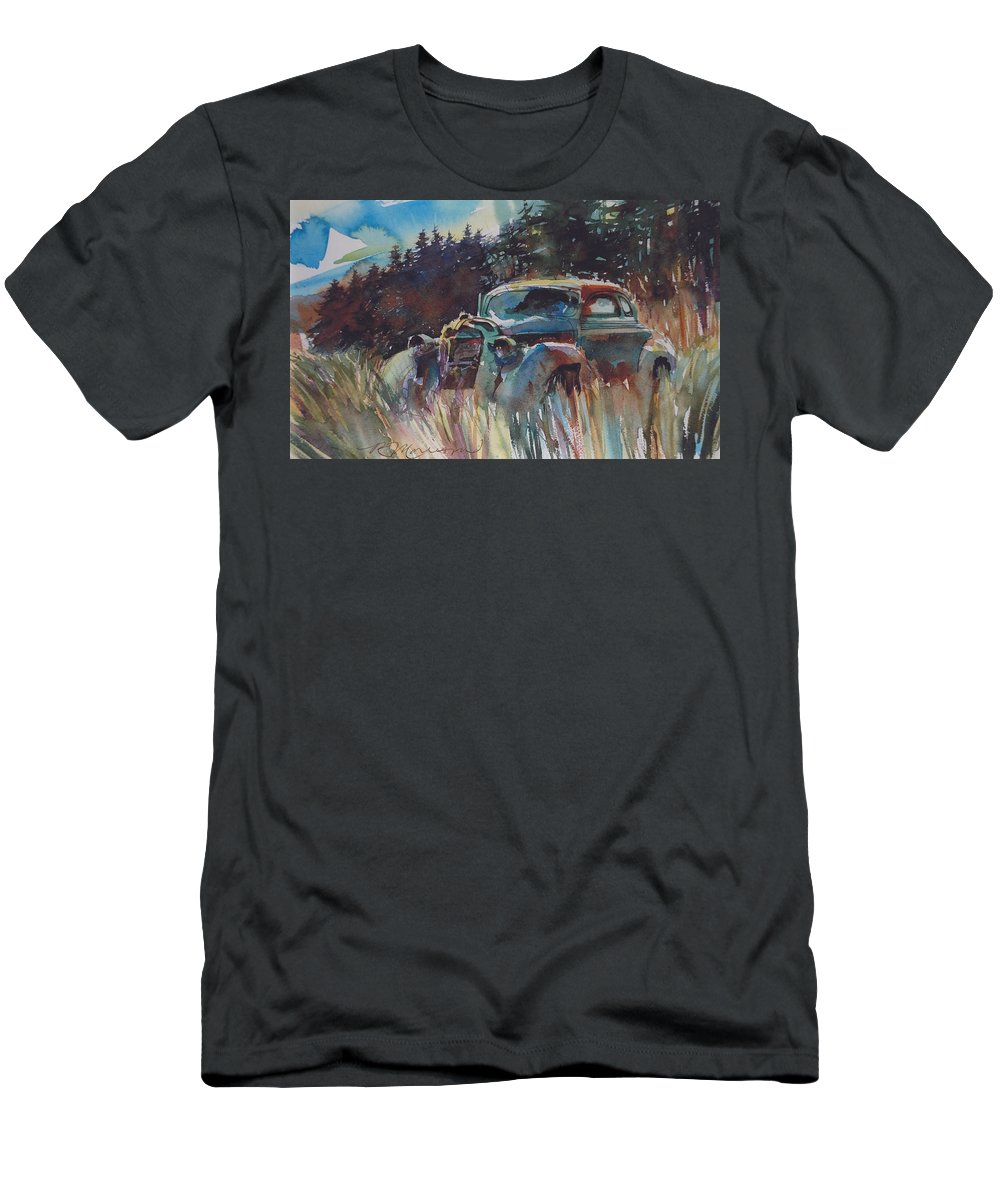 37 Plymouth T-Shirt featuring the painting Back to Earth by Ron Morrison