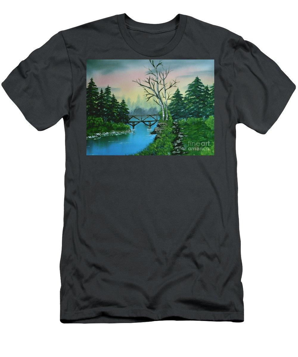 Landscape Men's T-Shirt (Athletic Fit) featuring the painting Back Woods Bridge by Jim Saltis
