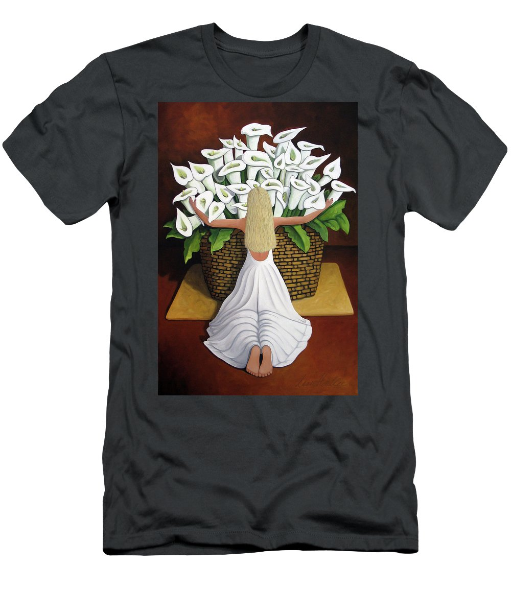Garden Men's T-Shirt (Athletic Fit) featuring the painting Baileyrae Lilies by Lance Headlee