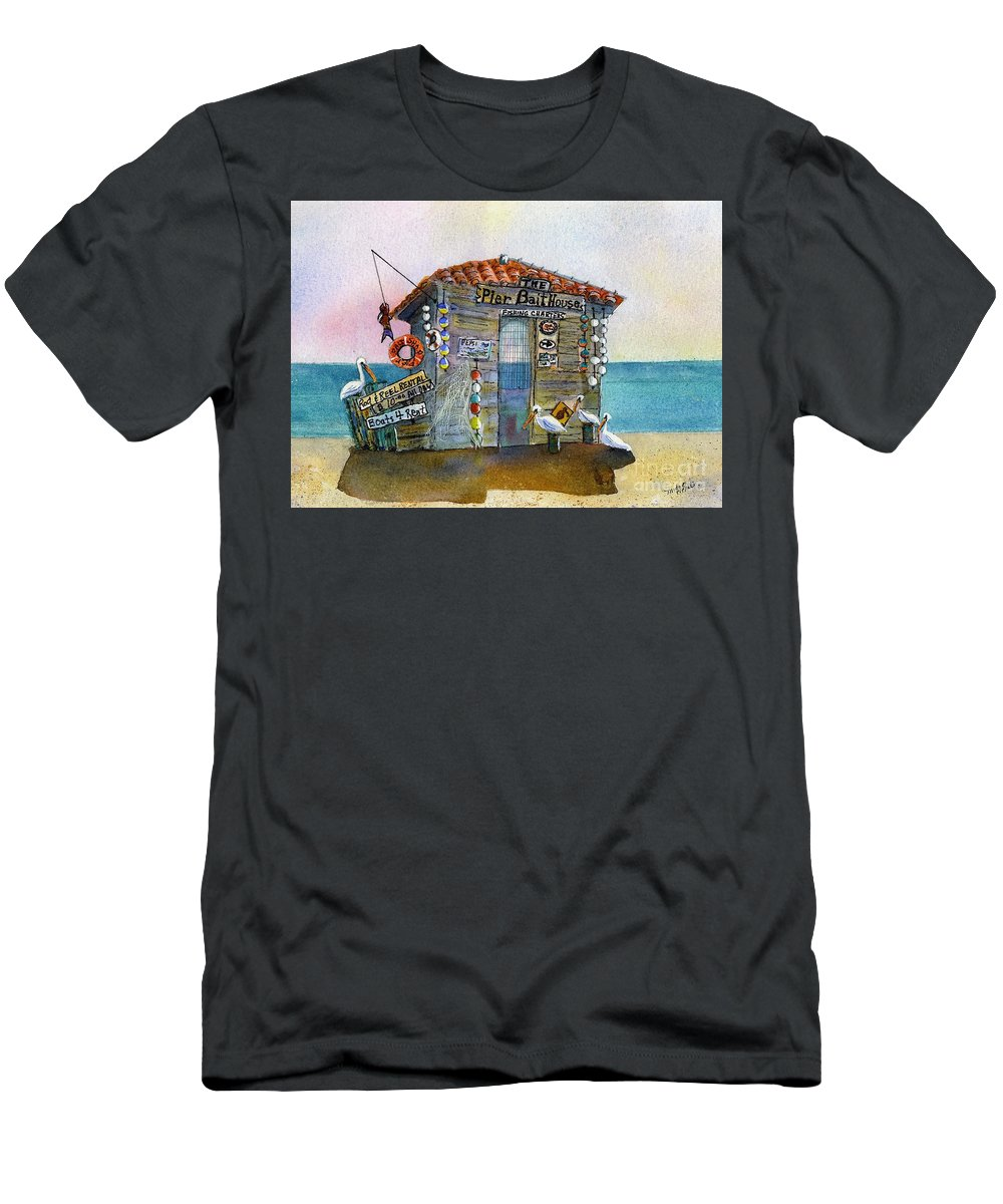 Bait-house T-Shirt featuring the painting Bait House by Midge Pippel