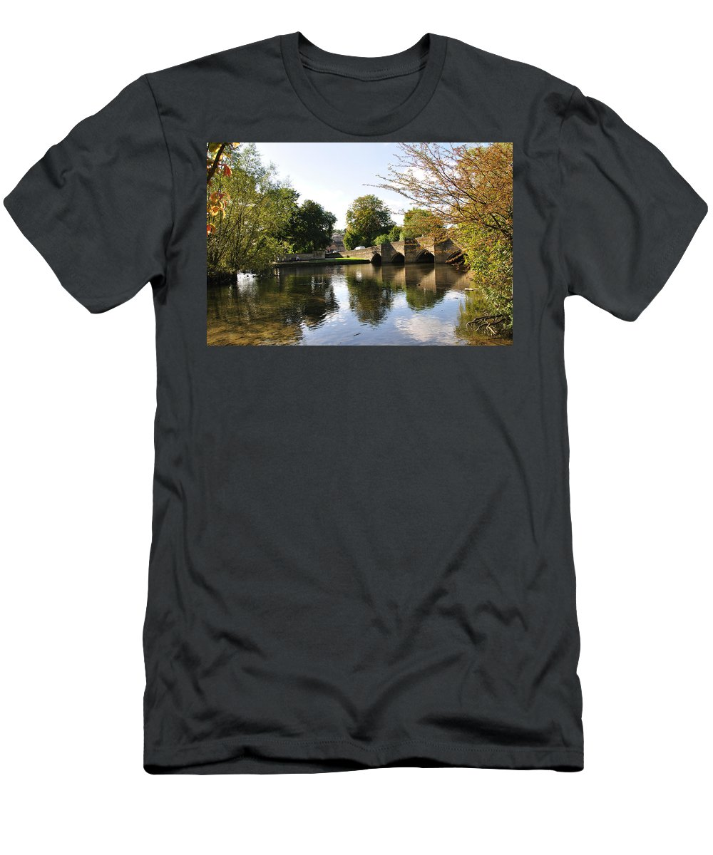 Europe Men's T-Shirt (Athletic Fit) featuring the photograph Bakewell Bridge And The River Wye by Rod Johnson