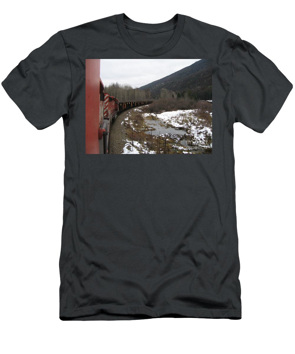 Photograph Train Mountain Snow Winter Tree Nature Men's T-Shirt (Athletic Fit) featuring the photograph Ballast Train by Seon-Jeong Kim