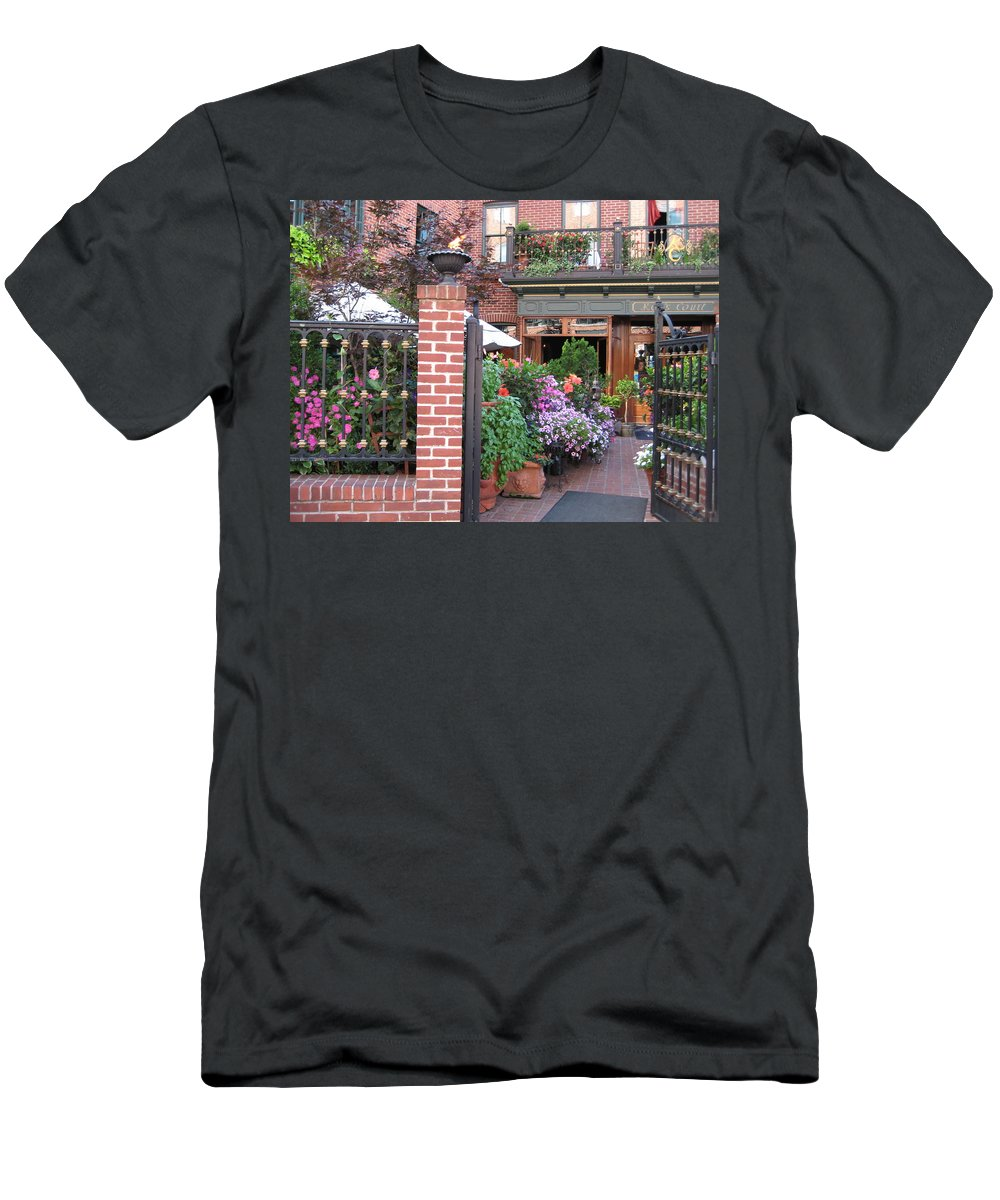 Courtyard Men's T-Shirt (Athletic Fit) featuring the photograph Baltimore Cafe     By Jean Carton by Jerrold Carton