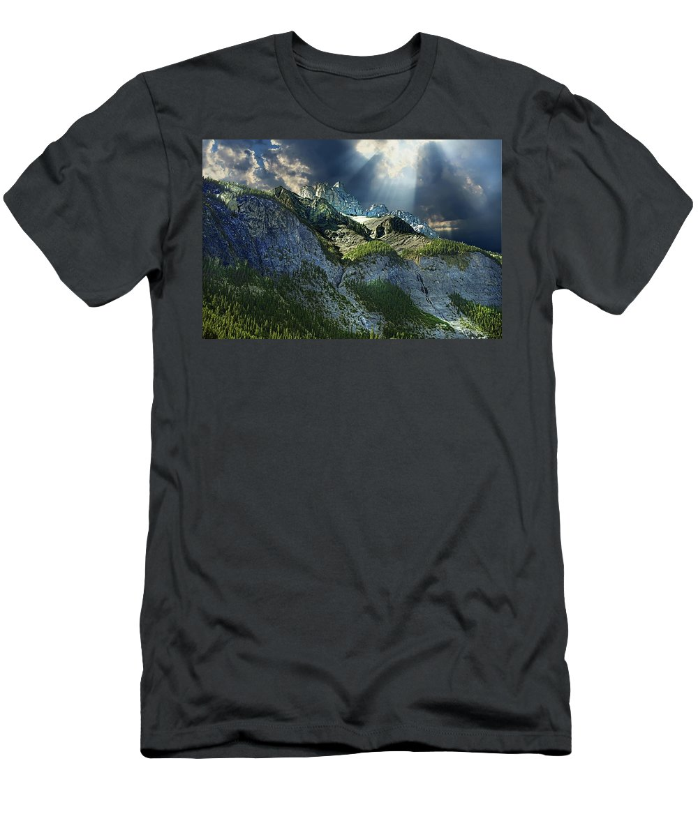 Mount Cory Men's T-Shirt (Athletic Fit) featuring the photograph Mount Cory, Banff by Ken McMullen