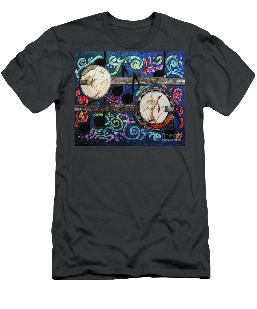 Banjos Men's T-Shirt (Athletic Fit) featuring the painting Banjos by Sue Duda