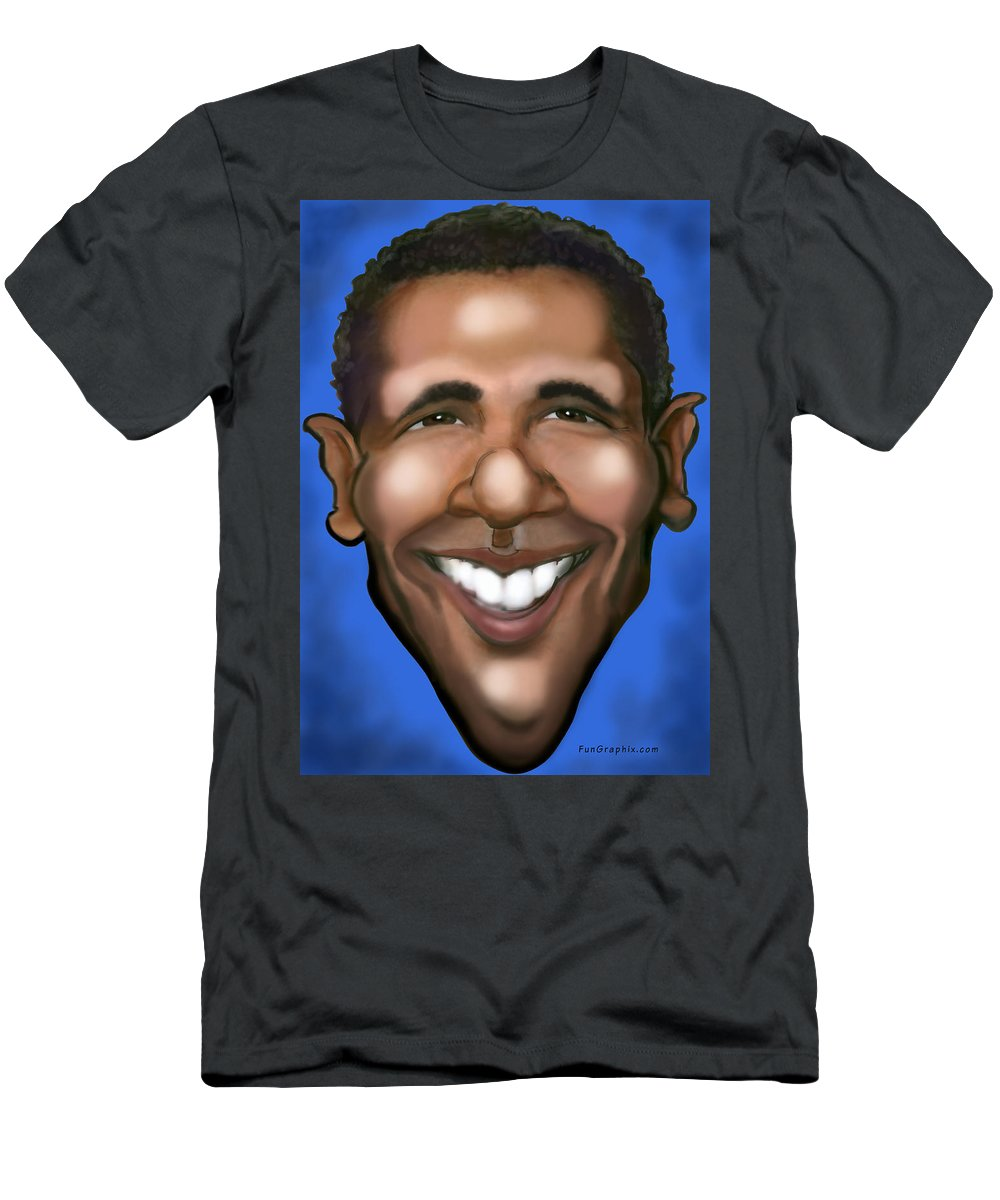 Barack Obama Men's T-Shirt (Athletic Fit) featuring the painting Barack Obama by Kevin Middleton